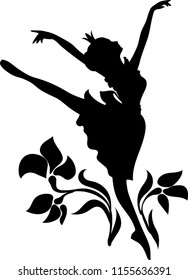 Doodle graphic silhouette of a woman icon.  Ballerina with floral ornament. Princess Cinderella dancing ballet among flowers