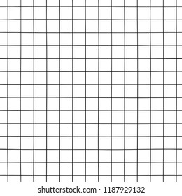 Doodle grid pattern. Hand drawn grid seamless background. Asbtract lines.