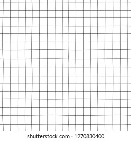 Doodle grid vector pattern. Hand drawn cell seamless background. Asbtract lines. Memphis style texture