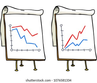 Doodle growth chart on a white background vector illustration