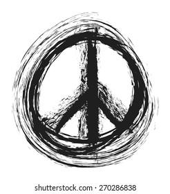 doodle grunge peace sign, vector illustration