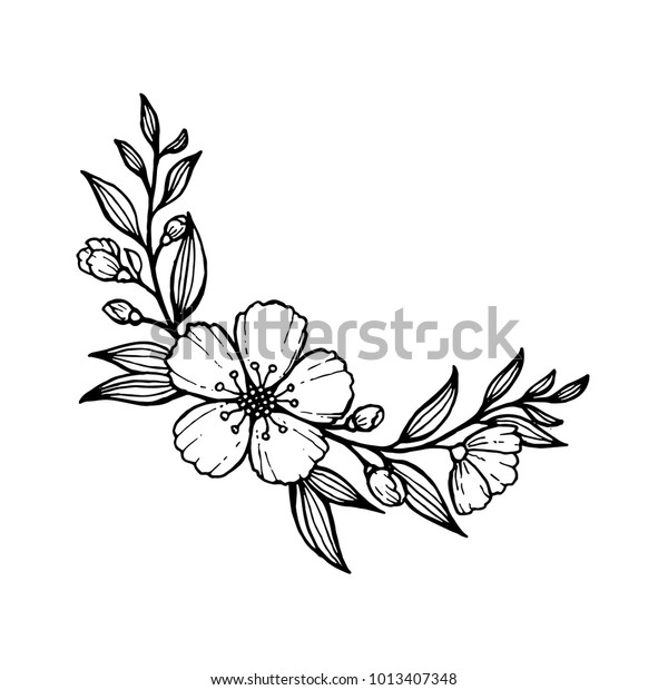 Doodle Hand Draw Flowers Decoration Coloring Stock Vector (Royalty