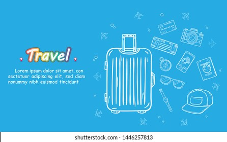 doodle hand draw traveler luggage 260nw