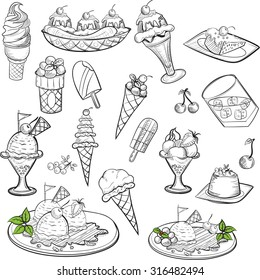 Doodle, Hand drawing, vector ice cream set