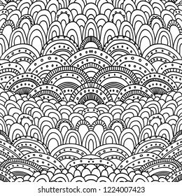 Doodle hand drawn abstract pattern. Adult coloring book page. Vector seamless black and white doodling ornaments background template.
