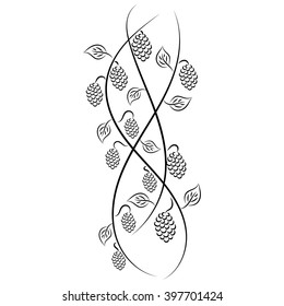 Doodle hand drawn abstract vine grape