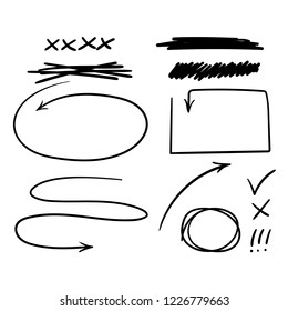 Doodle hand drawn arrows, check mark and other marks for notes. Vector black and white illustration.