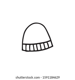 Doodle, hand drawn beanie,winter hat icon isolated on a white background.
