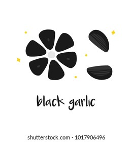 Doodle, hand drawn black garlic, trendy superfood isolated on white background.