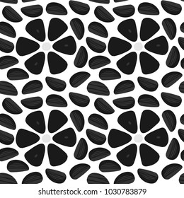 Doodle, hand drawn black garlic, trendy superfood seamless pattern background.