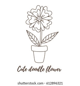 Black White Drawing Flower Pot Plant Stock Vector Royalty Free