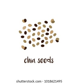 Doodle, hand drawn chia seeds, trendy superfood isolated on white background.