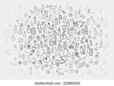 doodle hand drawn cosmetic and self care products background