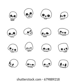 Doodle hand drawn cute naive skulls vector set. Black and white.