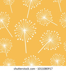 Doodle hand drawn  dandelion flowers on yellow. Vector seamless minimalistic pattern. Endless pattern for wallpaper, pattern fills, web page background, textures. Hand drawn, botany