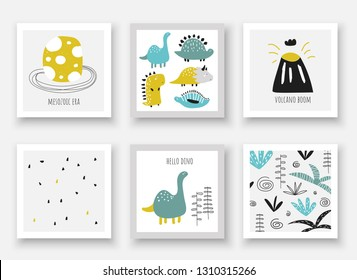 Doodle hand drawn dinosaurs collection. Card, postcards, wall pictures with Jurassic period egg, volcano, plants, leaves, palms, abstract elements