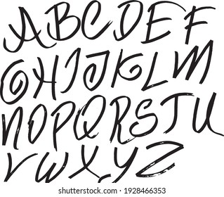Doodle Hand Drawn Fonts Isolated Vector Illustration. Doodle Fonts.