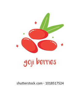 Doodle, hand drawn goji berries with leaves isolated on white background.