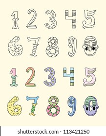 Doodle hand drawn numbers in pastel tints