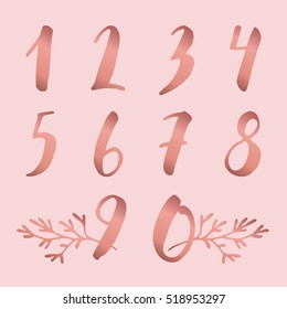 Doodle hand drawn numbers set with plants. Vector illustration. Rose gold color