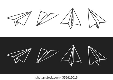 Doodle hand drawn paper plane set in two styles: pen sketch and chalk. Isolated vector illustration.