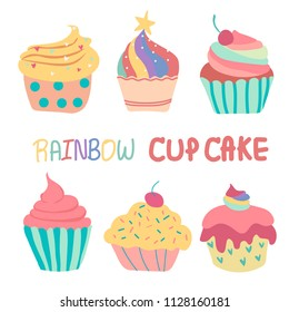 doodle hand drawn rainbow cute cup cake