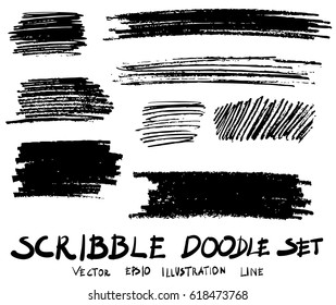 doodle hand drawn scribble vector set sketch strokes scribbles elements isolated on white.