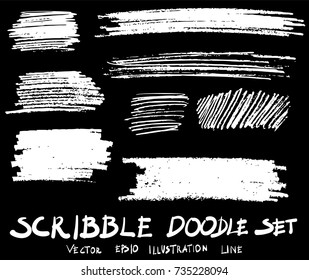 doodle hand drawn scribble vector set sketch strokes scribbles elements isolated on black.