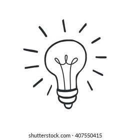 Doodle hand drawn shining yellow light bulb isolated on white background.