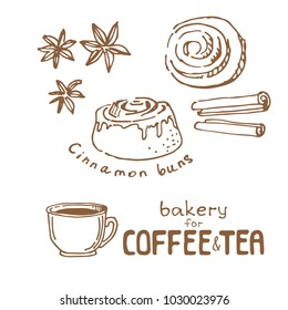 Doodle hand drawn sketch isolated on white background. Fresh bakery for coffee or tea: cinnamon buns. Design elements for cafe menu, fliers and chalkboards.