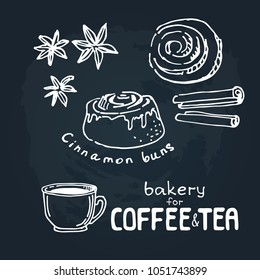 Doodle hand drawn sketch isolated on  chalkboard background. Design elements for cafe menu or coffee shop. Fresh bakery for coffee or tea: cinnamon buns.