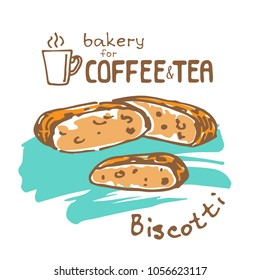 Doodle hand drawn sketch isolated on white background. Fresh bakery for coffee or tea: biscotti. Design element for cafe menu, fliers and chalkboards.