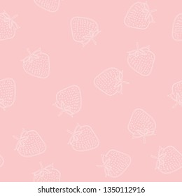 Doodle hand drawn strawberry seamless pattern on white background. Background for gift wrapping paper, fabric, clothes, textile, surface textures, scrapbook.