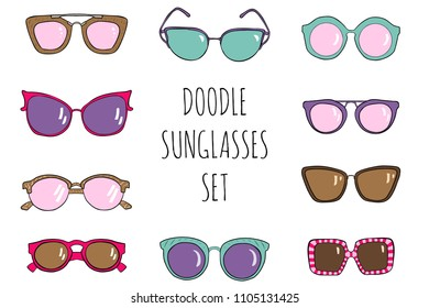Doodle hand drawn sunglasses set. Vector summer illustration.