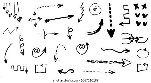 Doodle hand drawn vector arrows