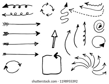 Doodle hand drawn vector arrows set. Isolated on white background