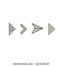 Doodle hand drawn vector arrows. Set black arrows on white background. Isolated vector Illustration. Arrow icon