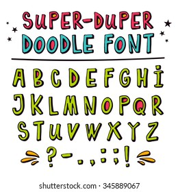 Doodle hand drawn vector font,  funny cartoon letters with punctuation marks, latin uppercase alphabet in childish style with 3D effect isolated on white