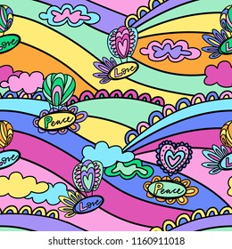 Doodle hand drawn vector illustration, abstract background, seamless pattern for fabric, wallpaper, backdrop. 1960s hippie style, peace and love symbols in pop colors.