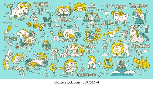Doodle hand drawn Zodiac, Constellation ,Greek mythology - Vector illustration