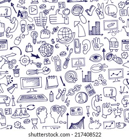 Doodle hand drown  sketchy seo  icons  in seamless pattern.Business concept . For wallpaper,backdrop,background.Vector illustration