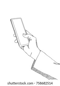 Doodle Hand Holding Mobile Phone for Business and Technology Concept, Vector Illustration EPS 10.