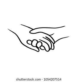 doodle hand of lover holding each other vector illustration sketch hand drawn with black lines isolated on white background