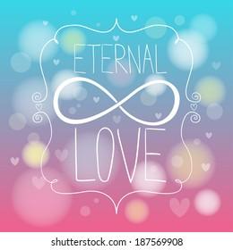 Doodle hands making infinity symbol. Eternal love.