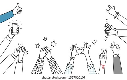doodle hands social successful set