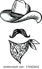 Doodle Hat,scarf and mustache, cowboy style