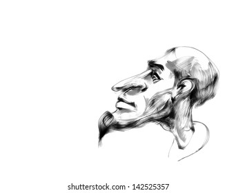 Doodle head with big nose. Hand drawn. Vector eps8