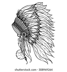 Doodle headdress for native american indian chief isolated on white background vector illustration
