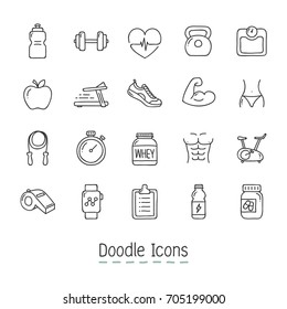 Doodle Health And Fitness Icons. Hand Drawn Icon Set.
