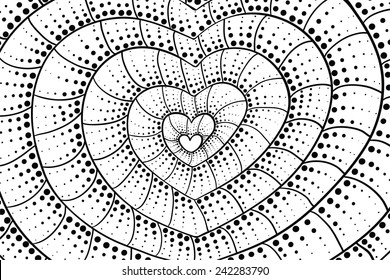 Doodle heart background. Black and white